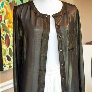 Ann Taylor Shimmer Gold Black Blouse Size 10